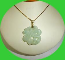 VINTAGE 14kt Yellow Gold Necklace & Green Jade Pendant