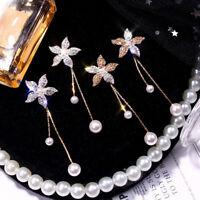 Fashion Women Crystal Flower Pearl Earrings Ear Stud Dangle Jewelry Earring