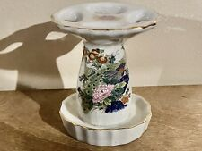 Vintage Peacock And Flowers Toothbrush Holder Made In Japan