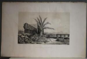 CONCEPTIÓN CHILE 1841 DUMONT D'URVILLE ANTIQUE ORIGINAL LITHOGRAPHIC VIEW