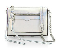 Rebecca Minkoff Mini Avery Silver Opal Iridescent Leather Crossbody Clutch NWT