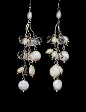 Freshwater Pearls with Natural Crystal Chandelier Earrings