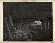 Stampa Antica = 1870= BIBBIA= PIAGA DELL'OSCURITA'= Gustave DORE' = Old Print
