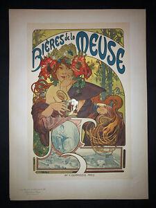 MUCHA - BIERES DE LA MEUSE 1899 - ORIGINAL VINTAGE POSTER AFFICHE - PL.182