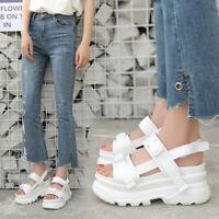 Damen Sandalen Plateau Schuhe Keilabsatz Freizeit Peep Toes Sandaletten Pumps