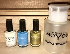 New Moyou 3 White Blue Gold Stamping Nail Art Fingernail Polish + Remover Bottle