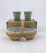 Longaberger May Series Miniature Peony Basket Combo w Tie On Flower Pots Nib
