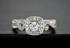 Frame Milgrain Vintage Style Engagement Ring $1879 14K White Gold Diamond Square