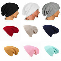Hat Womens Warm Knit Unisex Ribbed Mens Beanie Baggy Sport Winter Cap Slouchy