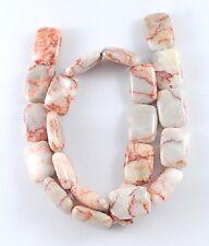 4 Perles en Pierre Naturelle Jaspe Rectangulaire marbré Rose 17mm x 12mm x 5mm