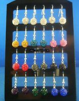 1 Pair 8MM 10MM Disco Ball Crystal Dangle 925 sterling silver Hook Earrings
