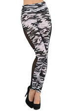 Army Camouflage Print Highwaist Leggings Pants Sheer Side Panel GY13024