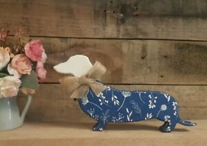 Handpainted Decoupage MDF Wooden Sausage Dog Ornament Navy With White Flowers