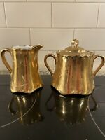 Hutschenreuther CREAMER and SUGAR Bavaria Germany Gold Crackle EUC 63 Signed