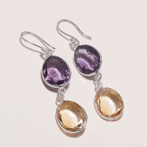 5.90 Gm 925 Solid Sterling Silver Natural Multi Cut Stone Earring Gemstone i2690