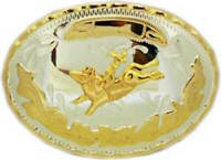 Oversize BIG RODEO Bull Rider Silver GOLD Western Belt Buckle Cowboy Large ov35