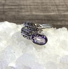 Vintage Oval Amethyst Sterling Silver Twist Ring Accented w Marcasites Size 7