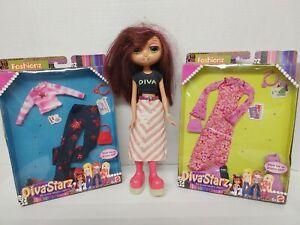 2002 MATTEL DIVA STARZ FASHIONZ Outfits Clothing (X2) NIB Doll is Used