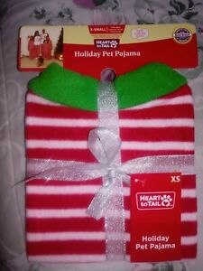 Heart To Tail XSMALL   Dog Holiday Pet Pajamas - Brand New