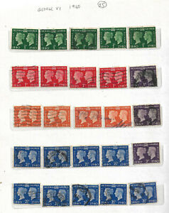 King George VI Stamps Centenary Of Gum Postage Stamps 1840 - 1940 25 mixed