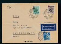 FRZ. ZONE/RHLD.-PFALZ 1949, Mi. 42-43 Brief, portorichtiger Flugbrief!!