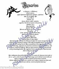 Aquarius Zodiac Astrological Poster or Wicca Book of Shadows Page on Parchment