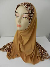 Gold Brown One Piece Slip-On Leopard Zebra Pattren Muslim Hijab Head Cover Scarf