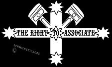 THE RIGHT TO ASSOCIATE STICKER  EUREKA STOCKADE FLAG WITH PISTONS BIKER STICKER