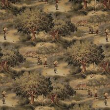 A003 Golfers Golf Course Clubhouse Themed Tapestry Upholstery Fabric By The Yard