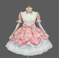 Lolita Gothic Maid Wear Pink Long Sleeves Fancy Dress Cosplay Costume Halloween