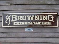 """EARLY STYLE BROWNING FIREARMS DEALER SIGN/AD 1'X46"""" ALUM. PANEL W/BUCK LOGO"""