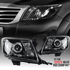 BLACK PROJECTOR ANGEL EYE HEAD LIGHT LAMP KUN TOYOTA HILUX VIGO CHAMP MK7 11-14