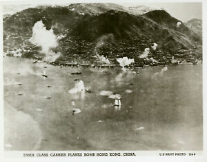 US Navy airplanes bombing the coast of Hong Kong China 1945 WWII OLD PHOTO
