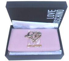 Portafoglio Borsello Love Moschino Motivo Cuore Logo Metallo Oro Colore Rosa