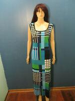 plus size 22W blue green white black stretchy décor print sheath dress by ROZ &