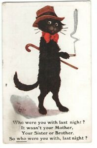PC REG CARTER BLACK CAT WHO WERE YOU WITH ?  ARTISIT SIGNED POSTED 1912