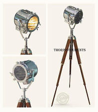 RETRO STUDIO WOODEN STAND THEATER INDUSTRIAL SPOTLIGHT STAGE LAMP TRIPOD