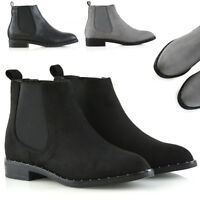 Womens Studded Chelsea Boots Ladies Pull On Elastic Gusset Biker Shoes Size 3-8