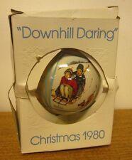 NORMAN ROCKWELL sledding Christmas ornament 1980 Downhill Daring beat-up