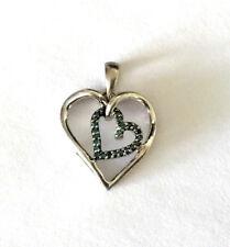 Heart Pendant Blue Diamond Very Delicate Jwer 925 Sterling Silver Heart In