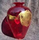 "Vitrix Glass Red 7"" Vase Gold Leaf Accents USA 1994 Studio Art Glass Vessel"