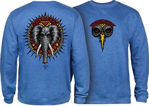 Powell Peralta Skateboard Crew Sweatshirt Mike Vallely Elephant Royal Heather