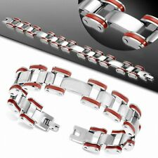 Bracelet with Link Stainless Steel with Rubber Red Men