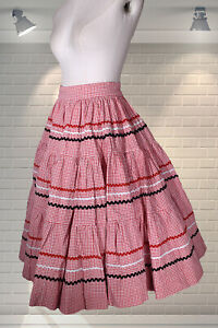 Pretty Vintage Full Circle Rockabilly Skirt Gingham & Rik Rak Trim - Needs A Zip