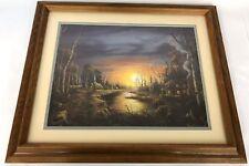 "Vintage 21"" Framed MILLER Sunset Fall Autumn Cabin Church Village Art Print"