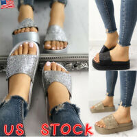 Womens Ladies Flat Slides Sandals Diamante Sparkly Sliders Slippers Shoes Size