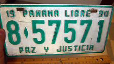 1990 Panama License Plate 8 57571, very good shape, nice colors!