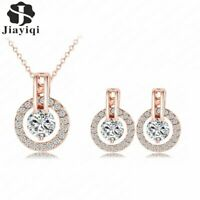 Damen Schmuckset Silber Rosegold Halskette Ohrringe Zirkonia Strass Kristall