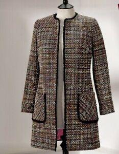 BNWT Helene Berman Tweed Edge To Edge Coat  Black Size 10-12   RRP £175