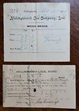 1908 Hollingworth Gas Company and Hollingworth Local Board Receipts